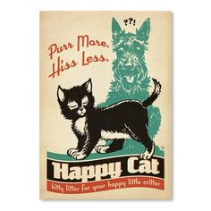 """East Urban Home Cat Purr More Vintage Advertisement Size: 10"""" H x 8"""" W"""
