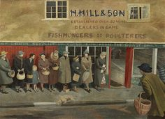 Evelyn Dunbar The Queue at the Fish Shop (detail)There won't be any ration books, with coupons to cut out, like there were at the grocer's and butcher's. Fish was never rationed during World War 2, hence the queue. (Text © Christopher Campbell-Howes 2012. All rights reserved.)