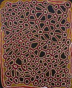 """Ian Rictor, Tuwan, 2012, acrylic on linen, 90 x 111 cm. Spinifex Arts Project, Tjuntjuntjara; Artkelch, Freiburg, Germany, 2013.  As the youngest member of a family that """"came in from the bush"""" to begin settlement life in October 1986, Ian is one of the five last Aboriginal Australians to abandon the nomadic way of life that stretched back perhaps 50,000 years. Australian Painting, Australian Artists, Art Production, Gallerie, Canvas Board, Aboriginal Art, Animal Print Rug, Art Projects, Germany"""