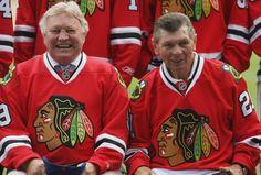 Bobby Hull and Stan Mikita - Thanks Rocky Wirtz. Hockey Puck, Hockey Teams, Hockey Players, Sports Teams, Blackhawks Game, Chicago Blackhawks, Bobby Hull, Hockey Stuff, Black Hawk