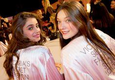 "hauteadore: ""Taylor Hill and Yumi Lambert backstage at the 2014 Victoria's Secret Fashion Show - VSFS 2014 """