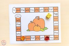 A fun pumpkin editable board game that is perfect for fall literacy centers! Use it to work on sight words, spelling words, letters and more! - Education and lifestyle Fall Preschool, Preschool Math, Preschool Printables, Free Printables, Kindergarten Centers, Literacy Centers, Theme Halloween, Kindergarten Activities, Listening Activities