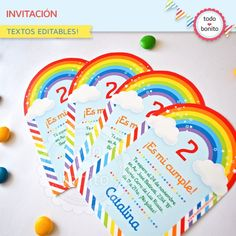invitaciones de cumpleaños de arcoiris para niñas - Buscar con Google