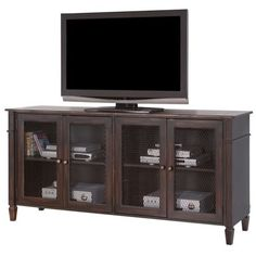 """Martin Furniture Navarro 72"""""""" TV Console ($769) ❤ liked on Polyvore featuring home, furniture, storage & shelves, entertainment units, chocolate, colored furniture, two tone furniture, martin furniture, home storage furniture and painted furniture"""
