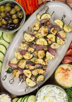 These Greek Chicken Kabobs are loaded with flavorful chicken, zucchini and red onion! At only net carbs per serving this is a low carb keto friendly dinner you will love! Mediterranean Dishes, Mediterranean Diet Recipes, Chicken Meal Prep, Chicken Recipes, Greek Chicken Kabobs, Cooking Recipes, Healthy Recipes, Keto Recipes, Healthy Meals