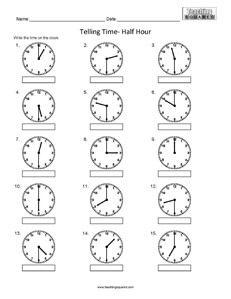 clock worksheets telling time to nearest half hour worksheet study pinterest the o 39 jays. Black Bedroom Furniture Sets. Home Design Ideas