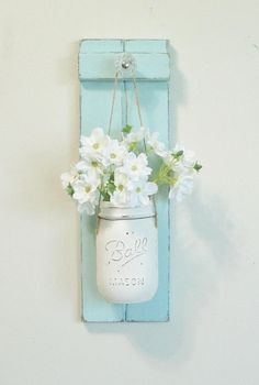 Chic Farmhouse Weathered Wood Wall Decor... Hanging Mason Jar