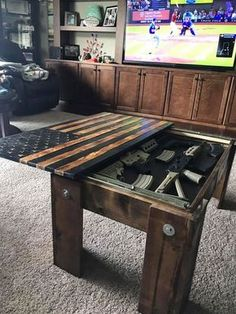 Black and Burnt Concealment table is part of Diy wood projects - 2017 we changed from a magnet lock to a RFID Locking system This comes with a key card and a key fob Table also comes with customizable 2 25 kaizen foam inside Takes 5 Minutes Easy Woodworking Projects, Popular Woodworking, Woodworking Furniture, Fine Woodworking, Pallet Furniture, Woodworking Store, Furniture Plans, Diy Wood Projects For Men, Outdoor Wood Projects