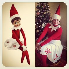 Diy elf on the shelf costume for halloween clever ideas elf on the shelf costume for santacon a little bit of white fleece and red felt can do wonders solutioingenieria
