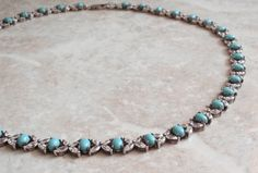 Turquoise Necklace Sterling Silver Cubic Zirconia Vintage