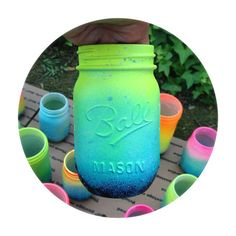 Neon Ombre Galaxy Mason Jar - Hand Painted - Super Unique One of a Kind Spring Bright Colors Mason Jar Projects, Mason Jar Crafts, Mason Jar Diy, Bottle Crafts, Diy Projects, Neon Spray Paint, Spray Painting, Fun Crafts, Diy And Crafts