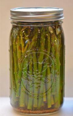 Pickled Asparagus. Recipe here: http://putneyfarm.com/tag/easy-refrigerator-pickled-asparagus/