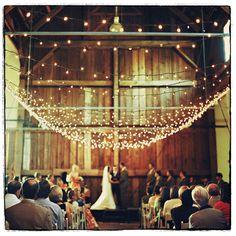 barn wedding plus lights