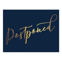 Simple Elegant Navy & Gold Postponed Wedding Postcard - tap to personalize and get yours Postcard Wedding Invitation, Wedding Invitations, Wedding Color Schemes, Wedding Colors, Thank You Postcards, Navy Gold, Navy Blue, Wordpress Theme Design, Holiday Photos