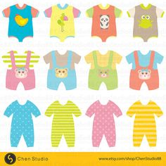 Baby clothes vector  Digital Clipart  Instant por ChenStudio88