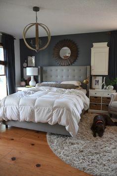 schlafzimmer deko ideen gelbe akzente dekokissen dunkler boden ... - Wohnideen Schlafzimmer Grau