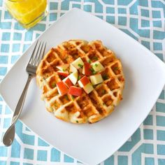 Cheddar Waffles with Maple Apple Butter Syrup - savory and sweet! And, cheddar + apples = winning combination.