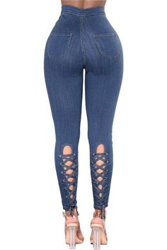 bf1f4cdfb5907 Women s Blue High Waist Elastic Skinny Jeans w  Lace-Up Cross Grommet Design