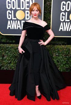 8028123af89d Christina Hendricks Black Asymmetrical Neckline with Split Skirt Prom Ball Gown  Golden Globes 2018 Red Carpet