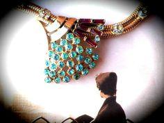 Cluster Necklace  Art Deco Serpentine Baguette & Blue by GoldDa, $45.00
