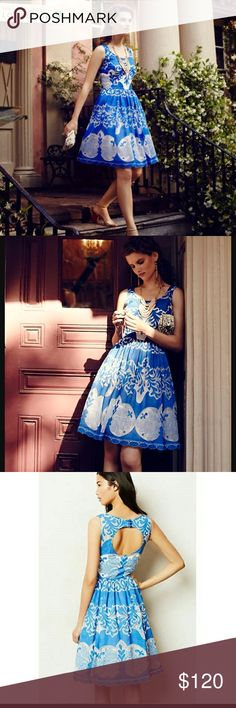 Anthropologie Azure Lace Dress Beautiful blue and white lace dress from  Anthropologie. Brand is Plenty