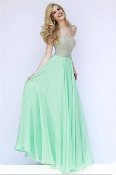 2015 Beaded Sherri Hill 8551 Long Seafoam Prom Gowns