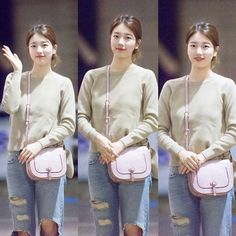 """""""Suzy today at the airport. Korea Fashion, Pop Fashion, Womens Fashion, Airport Fashion, Miss A Suzy, Ariana Grande Outfits, Lee Sung Kyung, Bae Suzy, Korean Star"""