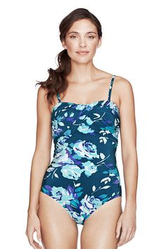 e77fa51103ac4 Women s Seaside Gardens Rose Floral Bandeau One Piece Swimsuit from Lands   End Lands End Swim