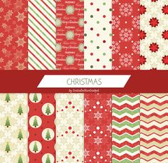 Christmas digital paper, snowflakes digital paper, christmas tree paper, snowballs paper, shabby chic paper, polkadots paper, chevron paper by GiuliaBelfioriGadget