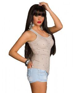 Tank Top Shirt mit Nieten, Strass und Brosche, frappe