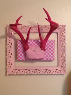 "Pink painted deer antlers & old vintage frame ."" Our little girls jewelry rack"""