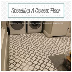 Cutting Edge Stencils shares a DIY stenciled cement floor in a laundry room using the Moroccan Tiles pattern. http://www.cuttingedgestencils.com/moroccan-tiles-wall-pattern.html