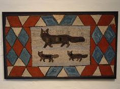 Three Foxes Hooked Rug
