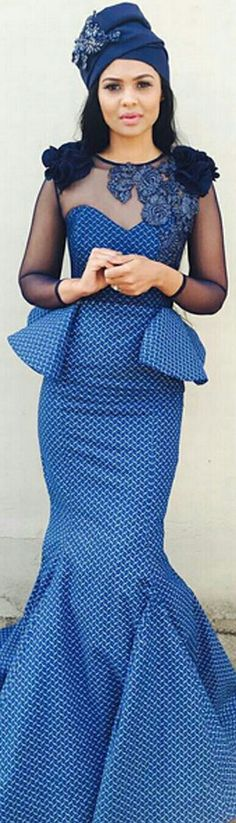 A Seshoeshoe Tswana/Zulu Bridal/Bridesmaids Gown in a Mermaid-Style Style in Modest Fashion.