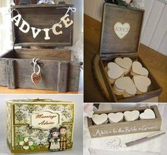 Wedding advice box for guests to put their advice in.  Bride & groom have fun reading it later.