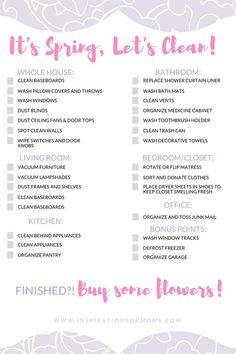 free spring cleaning checklist - all you need to spring clean your home fast