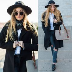 Get this look: http://lb.nu/look/8170899  More looks by Marta Caban: http://lb.nu/marcherry  Items in this look:  Mohito Hat, Tommy Hilfiger Shirt, Patrizia Orini Coat, Michael Kors Bag, Zero Uv Glasses   #classic #minimal #romantic
