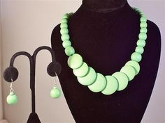 Lime Green Single Strand Wooden Bead Summer Beach Party Bridesmaid Necklace and Earring Set
