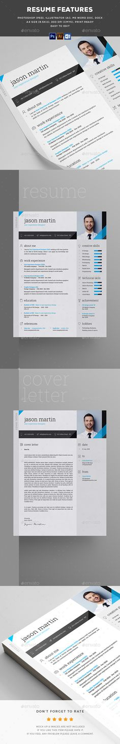 Resume Template PSD, AI Illustrator, MS Word