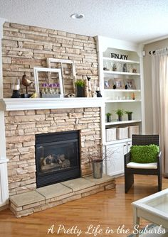 I like the idea of stone surround, but would do floating shelves and stop surround at the mantel