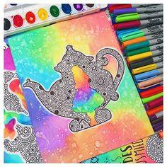 Alicia en el país de las maravillas 🌸💙 #anamandalas #aliciaenelpaisdelasmaravillas #zentangle #zentangleart #mandalas #mandala #sharpie #watercolor #arcoiris #rainbow