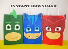 DIY - PRINTABLE--> PJ Masks Birthday Party Favor Bags/ Bag/ Favors/ Goody/ Goodie… Printable PJ Masks Favors/ Goodie Bag. Visit my Etsy Shop to learn more! $6 for all three Templates. Very easy to assemble. Printing is unlimited!! PJ Masks Birthday Party favors/ decoration/ ideas/ favor/ treat/ candy/ goody/ loot bags/ stickers/ labels/ cake/ cupcake toppers/ pj masks invite/ invitation/ backdrop/ photo props/ masks/ party supplies/ fiesta/ free