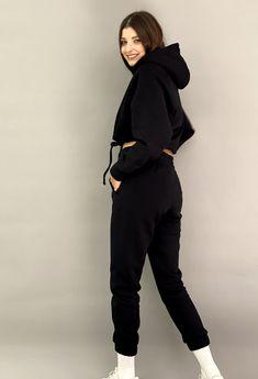 Γυναικειο set φουτερ-φλις Total Black, Sweater Set, Lounge Wear, Must Haves, Normcore, Butterfly, Outfits, Style, Fashion
