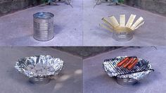 Make a portable grill from a tin can     You need:  - a Metal Tin Can do not use plastic it will melt  - Metal Shears or Kitchen Scissors   - Tin foil  - a Metal Grate    Directions:   The picture pretty much explains it  Takes 5 minutes to make    To set it up surround the can Grill with Rocks or Stones to prevent it from being knocked over. When done dispose of properly and make sure the fire is out.
