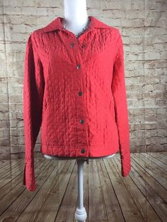 COLDWATER CREEK RED QUILTED JACKET 100% SILK WOMEN'S SZ MEDIUM #ColdwaterCreek #Quilted