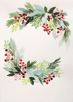 x Winter Hollies Wreath No. 1 - Original Painting : x Winter Hollies Wreath No. Watercolor Christmas Cards, Watercolor Cards, Watercolor Paintings, Original Paintings, Painting Art, Watercolor Girl, Watercolor Sunset, Christmas Paintings, Christmas Art
