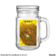 """Honey Bee On a Sunflower Food Label. Easily customize mason jars or food containers and make them 100% your own. Perfect for weddings, birthday parties, and baby showers. Dimensions: 2"""" x 3"""" 10 matte labels per sheet Scratch-resistant and waterproof Vibrant, full-color, photo-quality printing that stands the test of time Easy peel-and-stick method; labels are easily applied by removing the crack and peel backing to expose the permanent adhesive"""