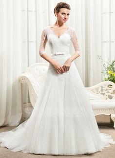 A-Line/Princess V-neck Cathedral Train Tulle Charmeuse Lace Wedding Dress With Bow(s) (002056461)