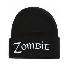Custom Beanie with word ZOMBIE Embroidered Beanie Hat ($15) ❤ liked on Polyvore featuring accessories, hats, beanie cap hat, beanie hats, acrylic beanie hat, beanie cap and embroidery hats