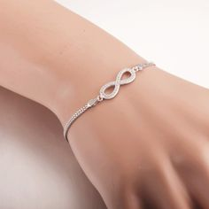 Aceworks Infinity Authentic 100% 925 Sterling Silver Bracelets Bangles Women Romantic Gift Charm Pave Zirconia Jewelry Design